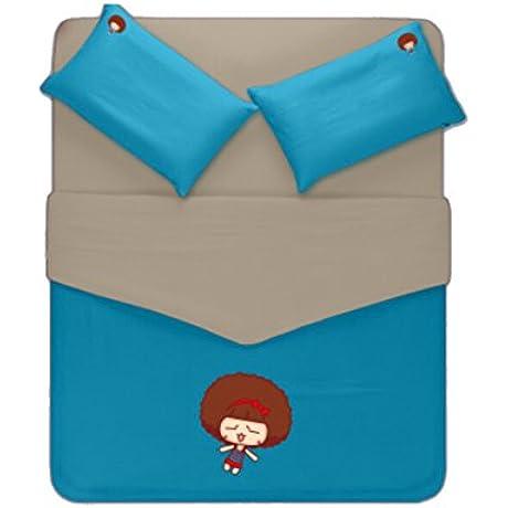 Linta Blue And Gary Little Girl Pattern Bedding Set Full