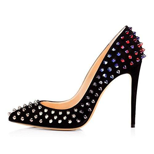 Arc-en-Ciel Moda talón zapatos del estilete de las mujeres Bombas Tachonado Negro