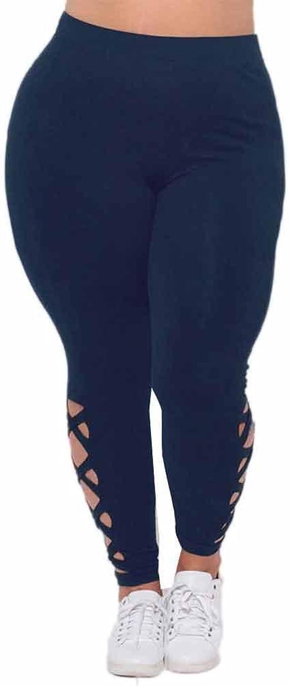 VJGOAL Mujeres Tallas Grandes de Moda Casual de Cintura Alta Color sólido Pantalones Elásticos de Fitness Leggings Vendaje Ahueca hacia Fuera Pantalones de Yoga Pantalones: Amazon.es: Ropa y accesorios