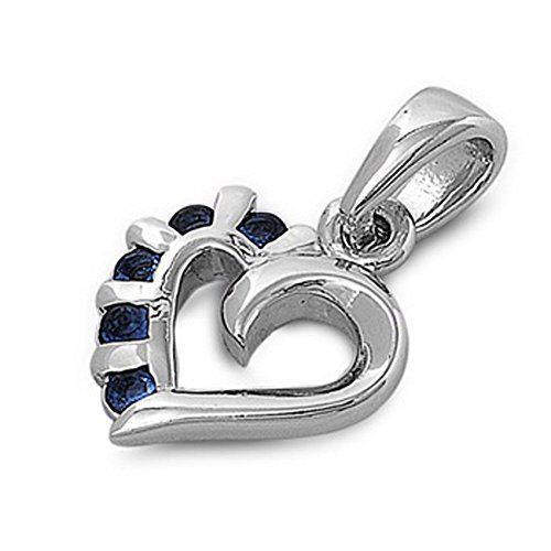 Heart Pendant Blue Simulated Sapphire .925 Sterling Silver Charm Jewelry Making Supply Pendant Bracelet DIY Crafting by Wholesale ()