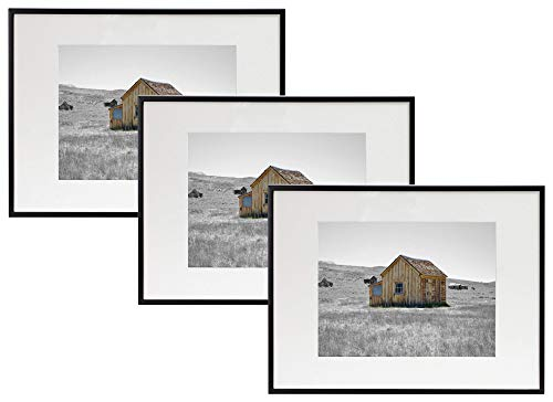 Frametory, Set of Three, 12x16 Aluminum Black Photo Frame with Ivory Color Mat for 8.5x11 Document or Photo & Real Glass