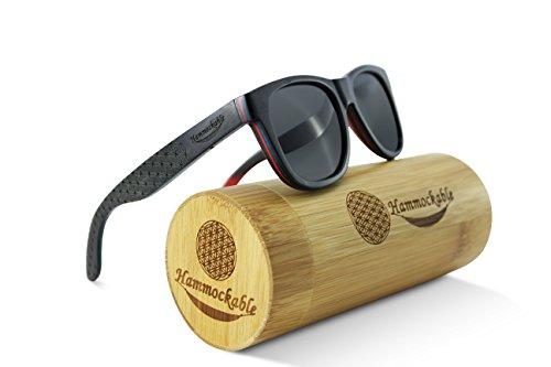(Hammockable Handmade Natural Wood Polarized Sunglasses that Float! (Black Maple - Flower of Life, Dark Gray))