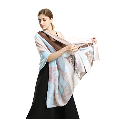 100% Silk Scarfs for Women Fashion Large Sunscreen Shawls Long Lightweight Floral Pattern Scarves (lanselm)