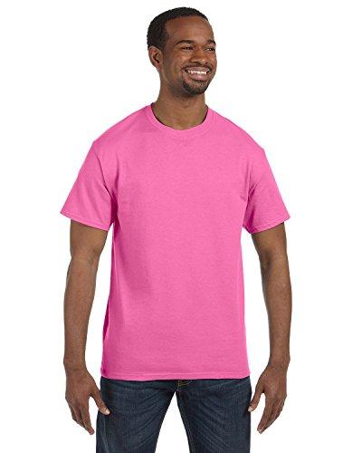 (Hanes Ultimate Tagless Double-Needle Crewneck T-Shirt, Pink, Medium)