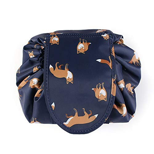 Adigow Lazy Drawstring Cosmetic Bag Large fox Makeup Bag Waterproof Portable Quick Pack Travel Bag for Women