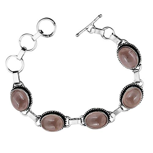 (Genuine Oval Shape Smoky Quartz Link Five Stone Bracelet 925 Silver Overlay Handmade Vintage Bohemian Style Jewelry for Women Girls)