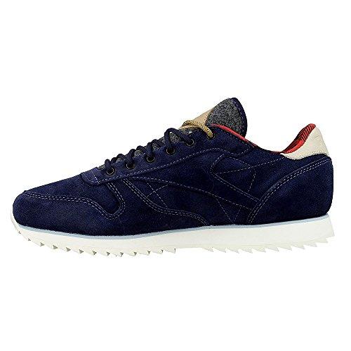 Reebok Damen Sneaker Schuhe CL LTHR Outdoor Pack, Blue/Chalk/Scarlet/Gravel