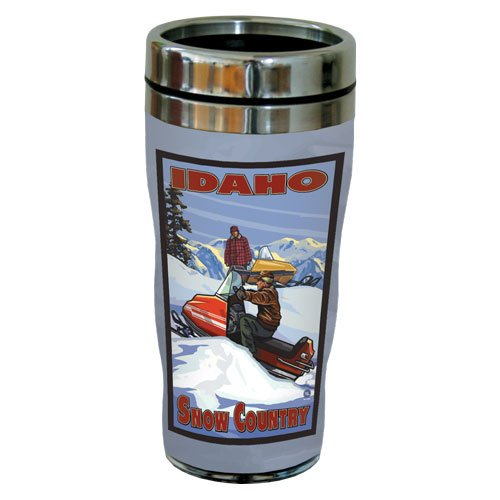 TreeFree Greetings 77373 Tree-Free Idaho Snow Mobile Greetings by Paul A. Lanquist Vintage Art Sip 'N Go Travel Tumbler, Stainless Steel, 16-Ounce, Multicolored