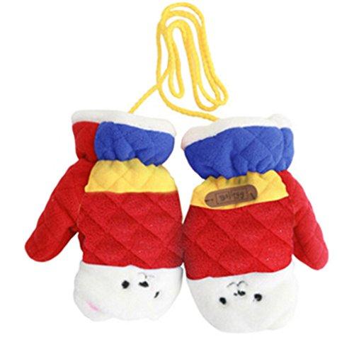 1 Pair Kids' Winter Gloves Warm Mittens Windproof Glove(2-6 Years) Red supplier