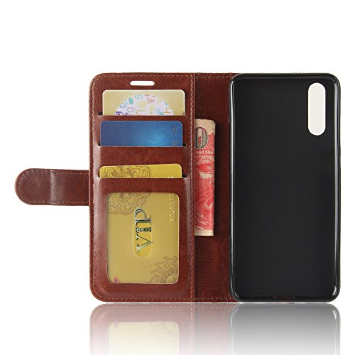 Huawei P20 Funda, Moonmini Ultra Delgada Libro Caso Flip Folio Funda de cuero PU Billetera Ranura de Tarjeta de Crédito Caja antirayas a prueba de choques del teléfono con Cierre Magnético y función d marrón