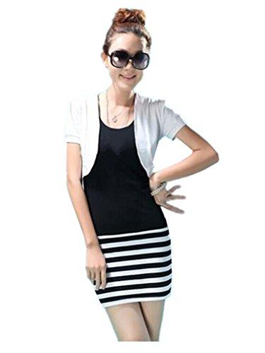 Womens Beautiful Cotton Short Sleeve Shrug Cardigan Top Multi-code (Us12, White)