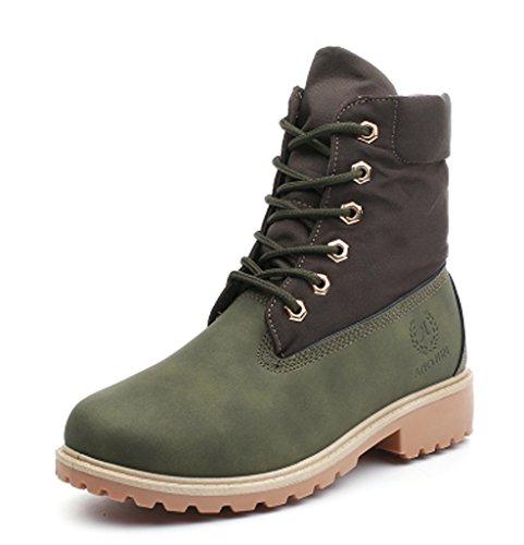 de Cordones de De Minetom Boots Botas Botines Zapatos Mujer Invierno Zapatos Nieve Calentar Trabajo Zapatos Martin Otoño Verde Botas aqxaTwP