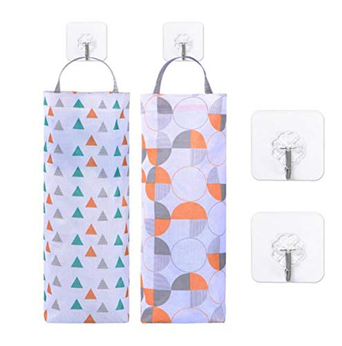 2 Pcs Plastic Bag Holder Dispenser Waterproof Hanging Grocery Bag Organizer with 2 Adhesive Wall Hooks for Kitchen, Bathroom