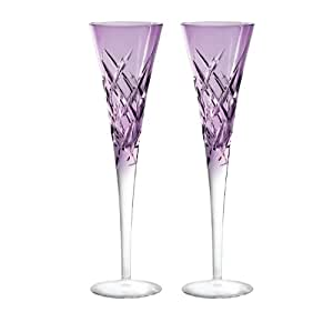 Duchesse Encore Toasting Champagne Flute Glass (Set of 2) Color: Lavender