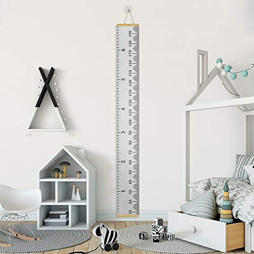 FOCCTS Baby Growth Chart Wood Frame Fabric Canvas Height Measurement Ruler Wall Height Chart for Kids Toddlers and Babies - 79