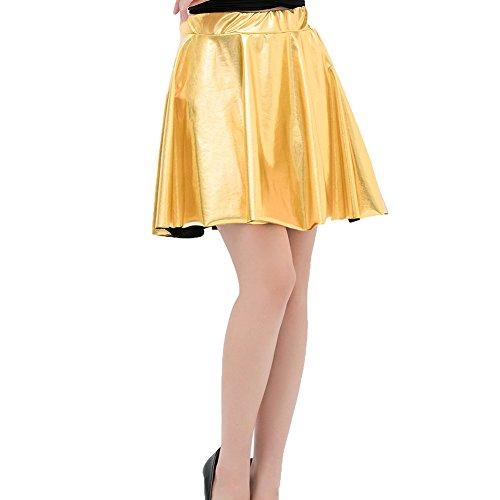 femmes Mxssi haute pour Dancewear Taille Metallic Mini jupe Or Shiny plisse Jupes qnOTd4Iw0