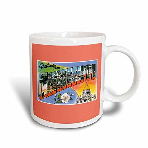 3dRose mug_170242_1 Greetings from Mississippi Scenic Postcard Reproduction Ceramic Mug, 11-Ounce (Mississippi Postcard)