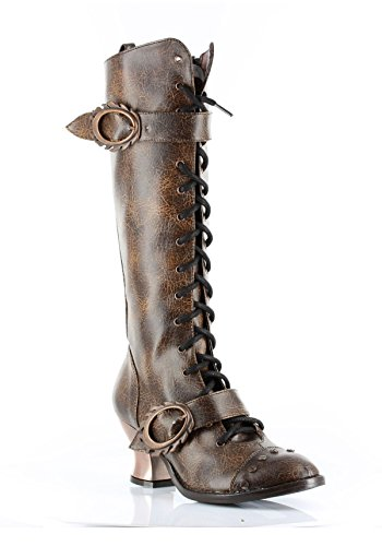 Boots Buckle Skull (HADES Steampunk High Heel Womens Knee Laceup Retro Boot VINTAGE)