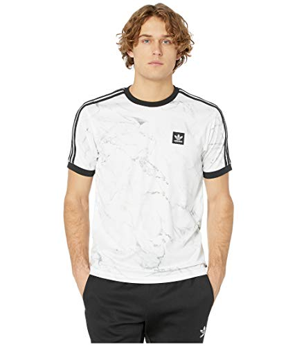 adidas Skateboarding Men's Marble AOP Club Tee White/DGH Solid Grey/Black X-Large Adidas Contrast Collar Jersey