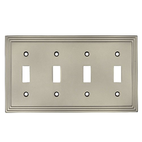 Cosmas 25045-SN Satin Nickel Quadruple Toggle Switchplate Wall Switch Plate Cover