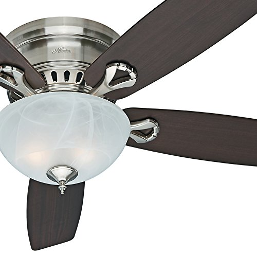 "Hunter Fan 52"" Low Profile Ceiling Fan in Brushed Nickel wit"