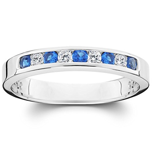 - .30CT Diamond & Blue Sapphire Anniversary Channel Set Enhancer Wedding Ring Band