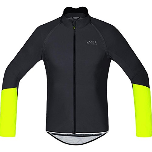 GORE BIKE WEAR, Men´s, Cycling Jersey, Detachable Sleeves, Gore Windstopper Soft Shell, Power WS SO, ZO, Size L, Black/Neon Yellow, -