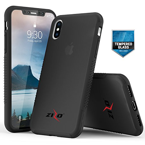 Zizo Flux 3.0 Series Compatible with iPhone X Case Frosted Rubber Back with Tempered Glass Screen Protector iPhone Xs Case Smoke