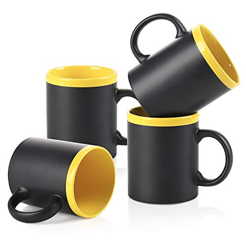ee Mugs, Set of 4, Ceramic Porcelain Mug Set for Coffee, Tea, Milk, DIY, Cocoa, etc. Microwave and Dishwasher Safe, Yellow ()