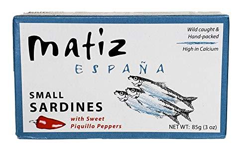 Matiz Sardinillas with Sweet Piquillo Peppers - Wild Caught, Baby Sardines (3 oz. - 12 Pack)