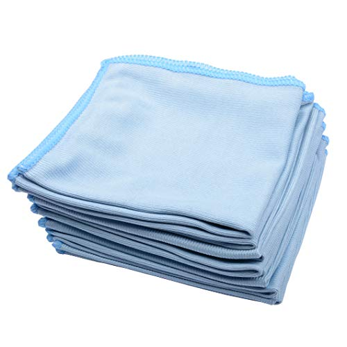 MUZOCT 8Pcs Microfiber Towel Cleaning Cloth Mop 12x12 inch for Glass Windows Mirrors Home Kitchen Car