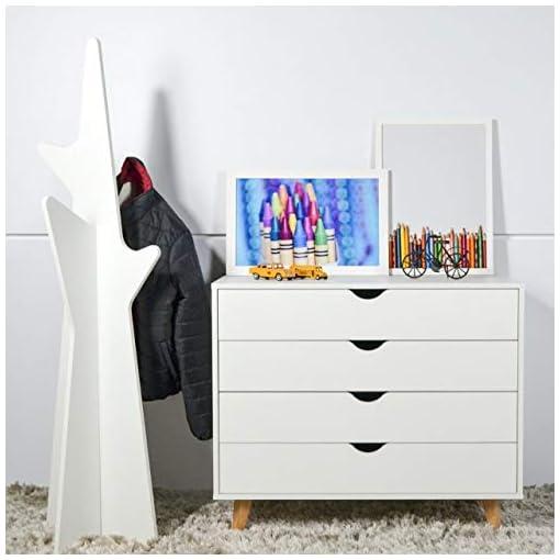 Bedroom 4 Drawer Dresser – Tall Dresser Storage Organizer – White, Black, Natural Wood Dressers for Bedroom – Premium MDP Wood…