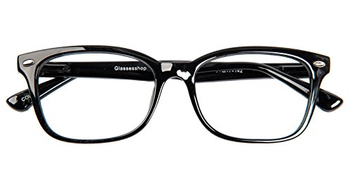 Glassesshop Vintage Black Hyannis Rectangle Eyeglasses - Plastic Frames Mens Eyeglass