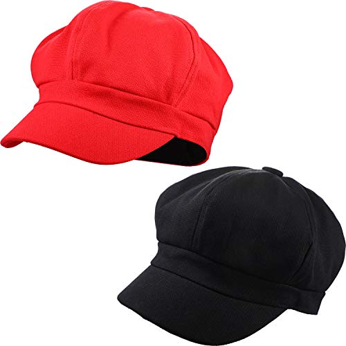 - 2 Pieces 8 Panel Newsboy Cap Fashion Classic Vintage Cabbie Hats/Cap for All Season, Soft Cotton with Adjustable Back (Black and Red)