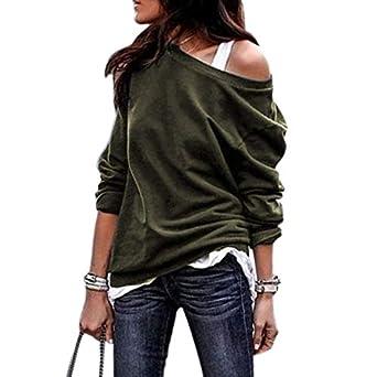 TOOGOO Para Mujer Moda De Oto?o Fuera Del Hombro Blusa Sudadera ...