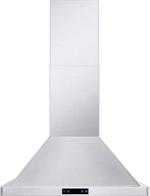 DKB 30 Wall Mounted Stainless Steel Range Hood with LED Touch Controls