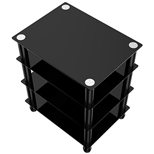 Fitueyes 4 Tier Media Stand Audio Video Component Cabinet With Glass Shelf For Apple Tv Xbox One Ps4 As406001gb