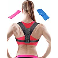 Posture Corrector For Women - Men + FREE Resistance And Stretch Band -Under Clothes- Adjustable Posture Brace - Effective Comfortable Adjustable Brace