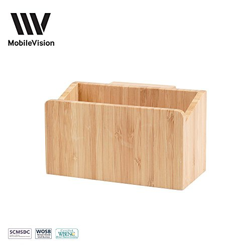 MobileVision Bamboo Caddy Add-On for File Folder Desktop Organizers; Compartment & storage space fits pens, pencils, keys, & other stationary items (Separately Table Under Sold Paper)