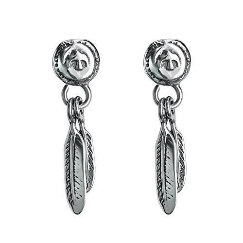 Vintage Sword Skull Rose Drop Dangle Stud Earrings 316L Surgical Steel Punk Cartilage Earrings Mens Women (Feather Style) by PiercingCool