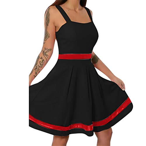 (TIFENNY Summer Sling Dresses for Women Sexy Sleeveless Solid Color Mini Causal Holiday Beach Causal Vintage Dress Black)