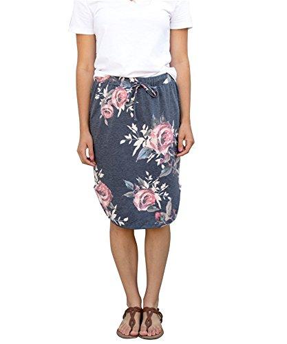 Coutgo Women's Casual Comfy Soft Stretch Floral Print Skirt (L, (Drawstring Print Skirt)