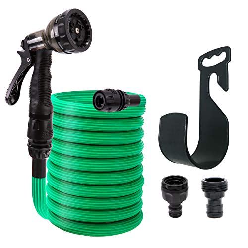 QJR 50FT Expandable Garden Hose,Wear Resistance,No Kinks,TPE Material Angle-Free Flexible Water Hose Use for 1500 Times,9 Function Spray Nozzle and Easy Storage Hanger Include (Green)