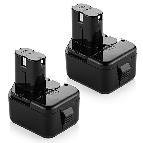 Powerextra 2 Pack 12-Volt 3.0Ah Replacement Battery for Hitachi EB1214S EB1212S EB1214L Eb1220bl Eb1220hl Eb1220hs Eb1220rs Eb1222hl Eb1226hl Eb1230hl Eb1230r Eb1230x Eb1233x