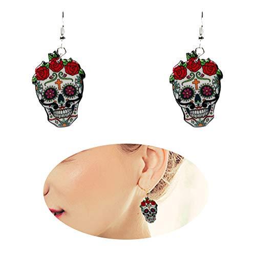 Dangle Drop Skull Cool Earrings Women Halloween Vintage Colors Enamel Pattern Stud Costume Girl Resin Charms Jewelry
