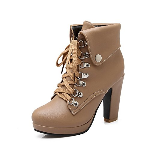 AmoonyFashion Womens Pu Solid Lace Up Round Closed Toe High Heels Boots Apricot 9Dop0