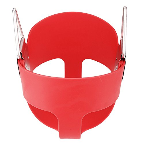 E EVERKING EverKing Heavy Duty High Back Full Bucket Toddler Swing Seat with Coated Swing Chains and Snap Hooks- Swing Set Accessories (Red)