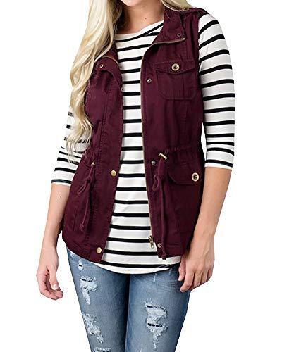 Jacket Gilets Red Women's Sleeveless Wine Autumn Waistcoat Fit Coat Minetom® Slim Lightweight Lined Warm Winter Tops Drawstring Vest Stand Collar Pockets Button FSx06q1n