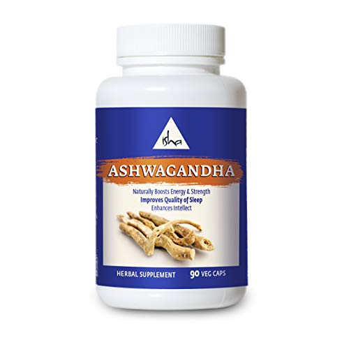 Isha Ashwagandha Supplements - Anxiety and Stress Relief, Anti-Inflammation, and Energy Booster - Natural Herbal Supplement, 500 mg ea (90 Veg caps)