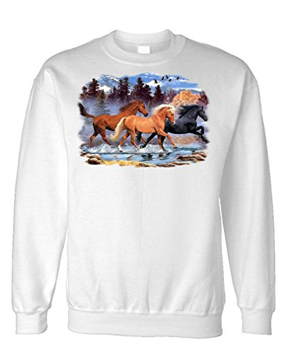 (The Goozler - Running Free 2 - Horses Equine Equestrian - Fleece Sweatshirt, S, White)